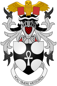 Notes     Terry Pratchett's arms were granted by Letters Patent of Garter and Clarenceux King of Arms dated 28 April 2010. Crest     Upon a Helm with a Wreath Argent and Sable On Water Barry wavy Sable Argent and Sable an Owl affronty wings displayed and inverted Or supporting thereby two closed Books erect Gules.