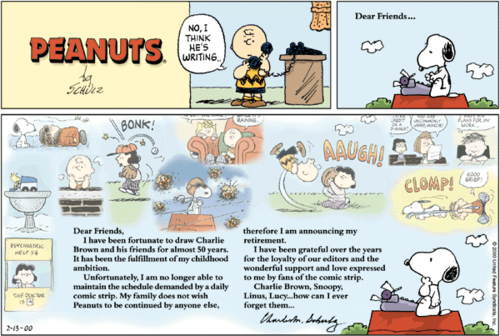 Final Peanuts Sunday strip, issued February 13, 2000, one day after the death of creator Charles M. Schulz.