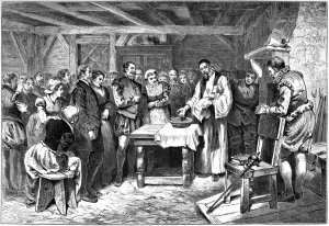 Baptism of Virginia Dare, lithograph, 1880
