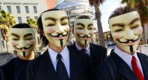 Hactivist group Anonymous protesting at the Scientology area in Los Angeles