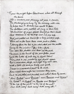 'A Visit From St. Nicholas' handwritten Manuscript, gifted by author Clement C. Moore (credit: New-York Historical Society)