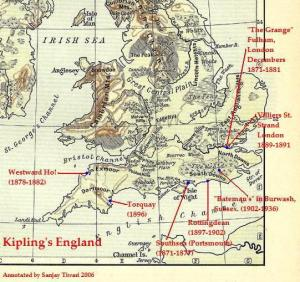 Kipling's England: A map of England showing Kipling's homes.