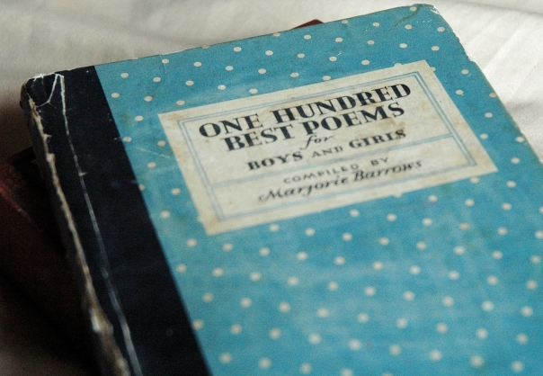One hundred best poems for boys and girls complied by Majorie Barrows, old, weathered book